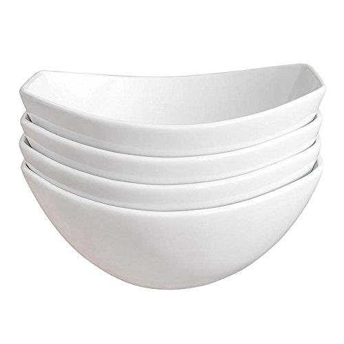 Over and Back Porcelain serving Bowl Set of 4, White