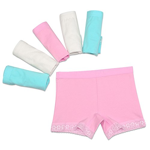 Lace Trim Girl Brief (BOOPH Girls Boyshort Lace Trim Cotton Boxer Briefs Kids Toddler Underwear Panties Pack Of 6  2-3 Years Assorted)