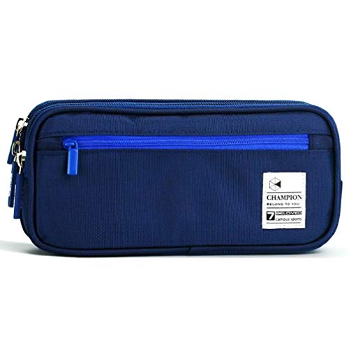 Enlike Large Capacity Pencil Case with Zippered Triple Pocket and Big Compartments, Pencil Cases/Pen Case/Pencil Bag Pouch for School Student Boys and Girls, Blue ()