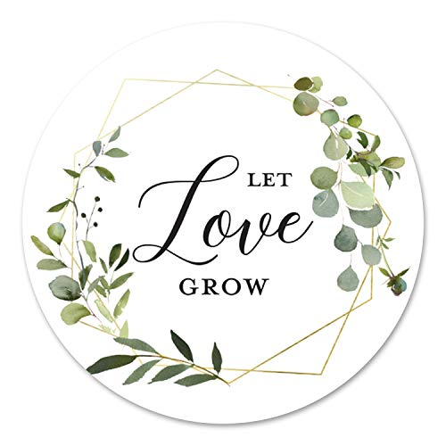 40 cnt Let Love Grow Greenery Eucalyptus Favor Stickers – Wedding Favor Labels