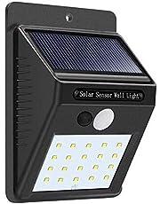 وحدة إضاءة تعمل بالطاقة الشمسية للجداران، 20 لمبة ليد، مع مستشعر حركة، مقاومة للماء