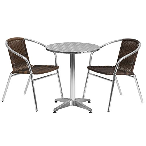 MFO 23.5'' Round Aluminum Indoor-Outdoor Table with 2 Dark Brown Rattan Chairs