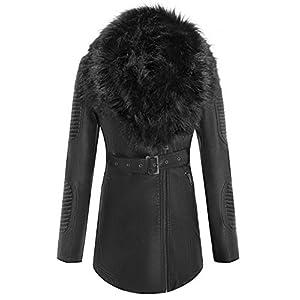 Giolshon Veste Courte de Moto en Similicuir pour Femmes, Le Manteau avec col en Fausse Fourrure