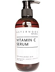 Vitamin C 8 oz Serum with Organic Hyaluronic Acid - Lighten Sun Spots Anti Aging Anti Wrinkle Light & Oxygen Stable MAP Vitamin C - Classic Formula - ASTERWOOD NATURALS - Pump Bottle