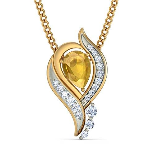 18K Or jaune 0,21CT TW Round-cut-diamond (IJ | SI) et citrine Pendentif