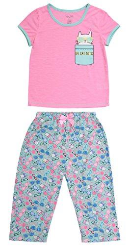 Accent Capri Set - Girls Sleepwear Short Sleeve Ringer Tee & Capri Pants Pajama Set (M (7/8), Prism Pink W/Mint)