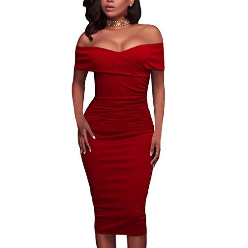QIYUN.Z Vestido De Partido De Noche De Las Mujeres Vestido Sin Tirantes Del Lápiz Del Coctel Del Bodycon Rojo