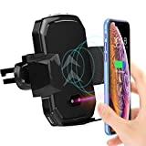 Fatmoon Automatic Clamping Car Phone Mount Wireless Charger Adjustable Gravity Air Vent Phone Holder Compatible Samsung Galaxy S9 S9 Plus S8 5 & Standard Charge for All Qi Enabled Devices