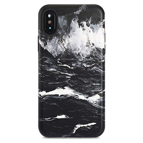 iPhone X Case/iPhone Xs Case,GOLINK Oil Painting Series Slim-Fit Ultra-Thin Anti-Scratch Shock Proof Dust Proof Anti-Finger Print TPU Gel Case for iPhone X/iPhone Xs - Dark Sea