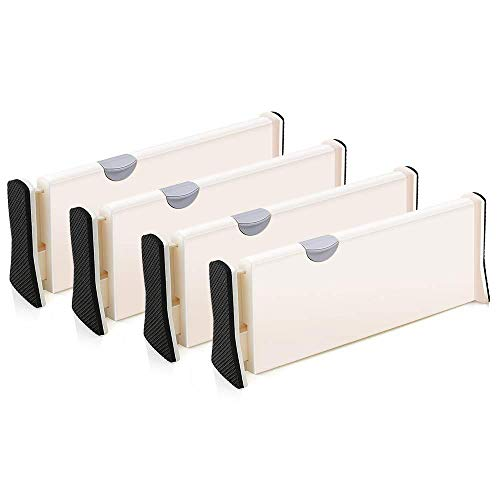 Drawer Dividers Pack of 4 Expandable Dresser Drawer Organizers With Anti Scratch Foam Edges Adjustable Drawer…