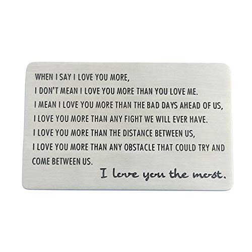 XYBAGS Men Birthday Gift Ideas, Engraved Wallet Inserts, Stainless Steel Wallet Card Anniversary Gifts for Him Boyfriend Husband (First Year Anniversary Gift Ideas For Him)