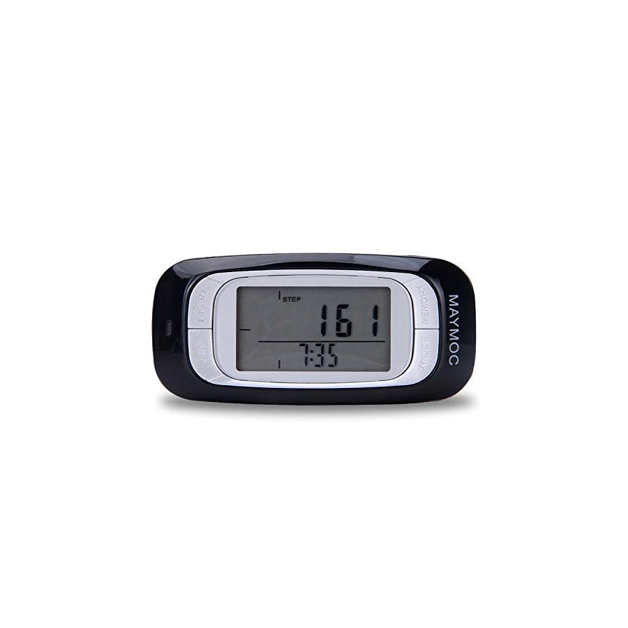 MAYMOC Multifunctional 3D Pedometer with Clip and Strap Accurate Step Counter, Distance Miles and Km, Calorie Counter,7 Day Memory, Daily Target Progress Monitor, Exercise Time 12 Month Warranty