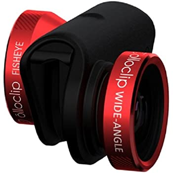 olloclip — 4-IN-1 LENS SET for iPhone 6/6s and 6/6s Plus — WIDE-ANGLE, FISHEYE and MACRO Premium Glass Lenses — Lens: Red/Black