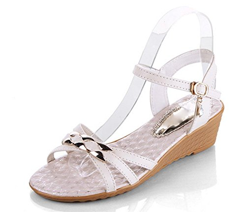Sommer Weiblich Sandalen Fisch Mund Schuhe Schnalle Slope mit lose Kuchen am Ende der Frauen Sandalen meters white