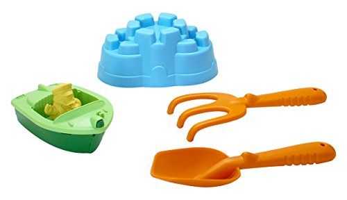 Sand & Water Play Sport Boat w. Rake and Shovel