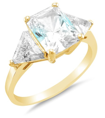Size 9.5 - Solid 14k Yellow Gold 3 Three Stone Emerald-Cut / Shape Solitaire with trillion shape Side Stones Highest Quality CZ Cubic Zirconia Engagement Ring 2.5ct.