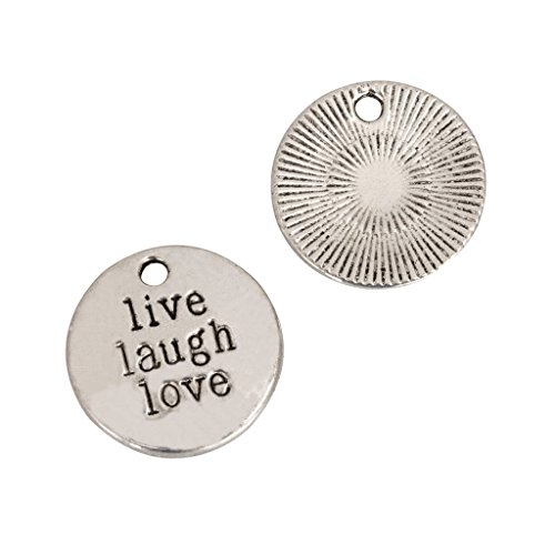 10 x Live Laugh Love Charms 20mm Antique Silver Tone for Bracelets Necklaces Earrings #mcz1142