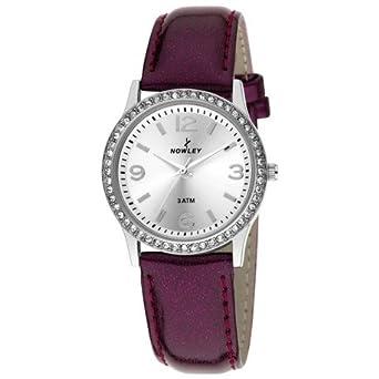 Reloj NOWLEY 8-5484-0-2 - Reloj mujer 3 atm con caja de metal plateada con circonitas, cristal mineral y correa de piel.: Amazon.es: Relojes