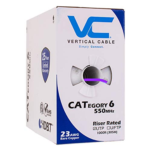 (Vertical Cable Cat6, 550 MHz, UTP, 23AWG, Solid Bare Copper, 1000ft, Purple, Bulk Ethernet Cable - 161 Series)