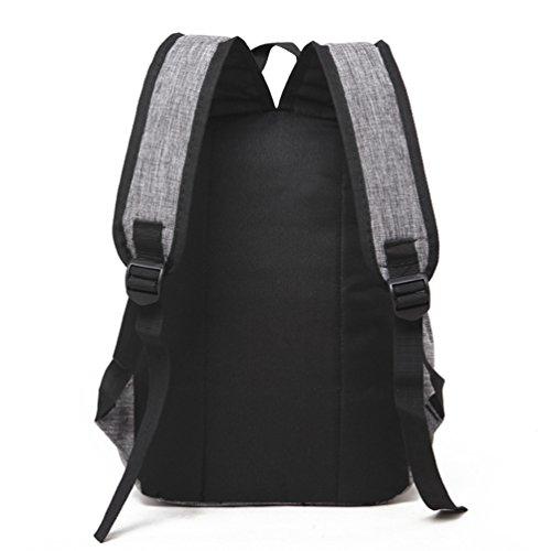 ZKOO Mochilas Lona Colegio Mochila Mujeres Hombres Escolar Bolsa Mochila de Portátil Backpack Mochila de Viaje Gris