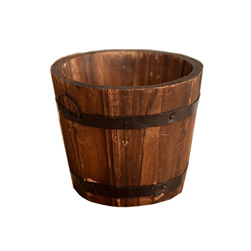 NACOLA Wooden Round Barrel Planter Flower Pots Home Office Garden Wedding Decor Wave mouth and flat mouth,S/M/L