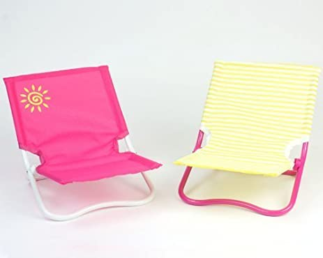 18 Inch Doll Chairs For Beach Or Lounge, 2 Pc. Set Of 1 Yellow