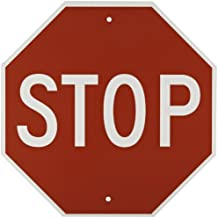 """Brady """"STOP"""" Sign - 18"""" Height, 18"""" Width - B-959 Reflective Aluminum, White on Red Traffic Stop Sign (113280)"""