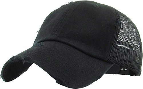 Rose Trucker Hat - H-6140-K06 Distressed Trucker Dad Hat - Black