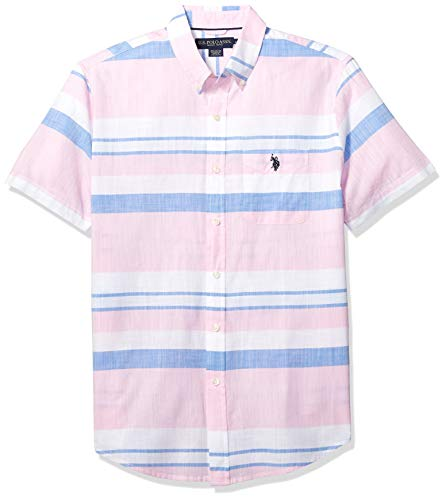 U.S. Polo Assn. Men's Short Sleeve Striped Sport Shirt, Pink Gin, M ()