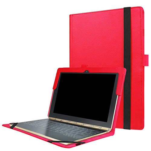 Price comparison product image Mchoice Folding Stand Leather Case Cover Holder for Lenovo YOGA Book 10.1 Inch (Red)