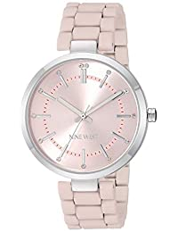 Nine West Women's NW/2303PKPK Crystal Accented Silver-Tone and Pink Rubberized Bracelet Watch