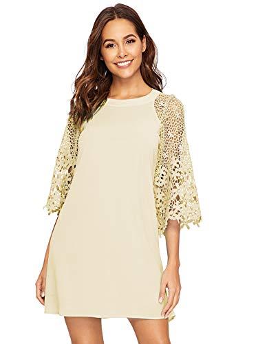 (MAKEMECHIC Women's Casual Crewneck Half Sleeve Summer Chiffon Tunic Dress Brown M)