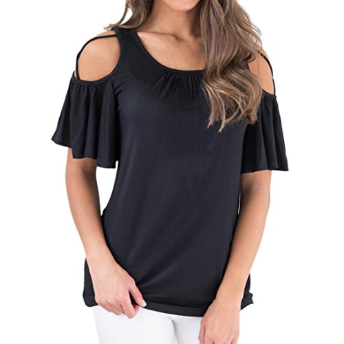 Wintialy Women Solid Cross Bandage O-Neck Lace-up Sleeve Ruched Flutter Top Blouse ()