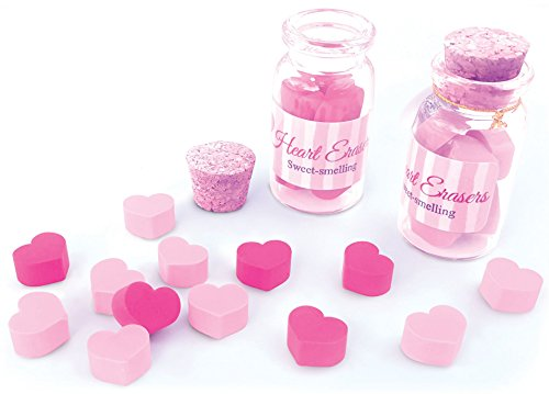 (The Piggy Story 'Jar of Hearts' Vanilla Scented Heart Shaped Mini Erasers - 2 Pack)