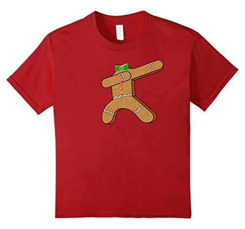 Gingerbread Man Costumes Child (Kids Dabbing Gingerbread Man Costume Shirt Funny Christmas Shirt 8 Cranberry)