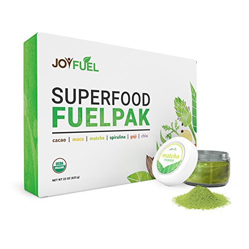 Joyfuel 6 Organic Superfoods Kit - Cacao Powder, Matcha Powder, Maca Powder, Spirulina Powder, Goji Berries, Chia Seeds - eRecipe Book & Coupon (100 (Personal Coupon Book)