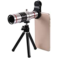 Phone Camera Lens , Prweyn HD Camera Lens Kit 18X Zoom Professional Aluminum Telephoto Manual Focus Telescopic Optical Lens For iPhone , Samsung , Smartphone (Silver)