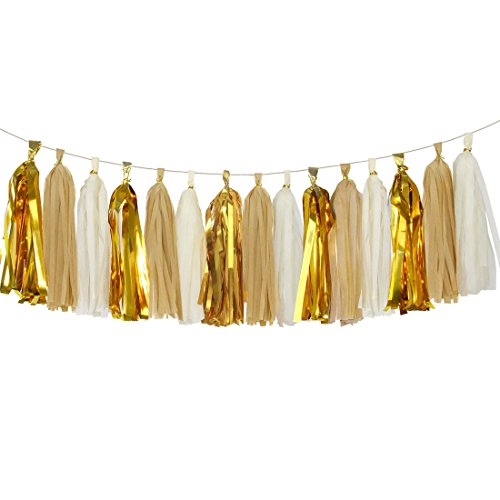 Koker Shiny Tassel Garland Tissue Paper Tassels Banner Decoration for Birthday Party, Bridal Shower, Table Decor, Metallic Gold+Tan+Ivory, 15 pcs