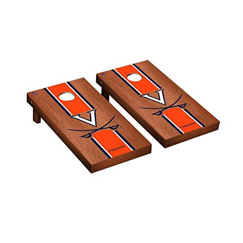 - Victory Tailgate Regulation Collegiate NCAA Rosewood Stained Stripe Series Cornhole Board Set - 2 Boards, 8 Bags - Virginia UVA Cavaliers Wahoos