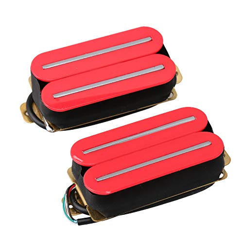 Lovermusic Electric Guitar Parts H11-RD-CR Dual Rail Double Coil Humbucker Pickup Set Red Pack of 2 ()