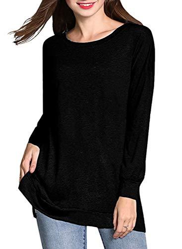 0e813ae97d2800 RJXDLT Women's Casual Long Sleeve Tunic Tops Side Split Loose Soft Pullover  Blouse