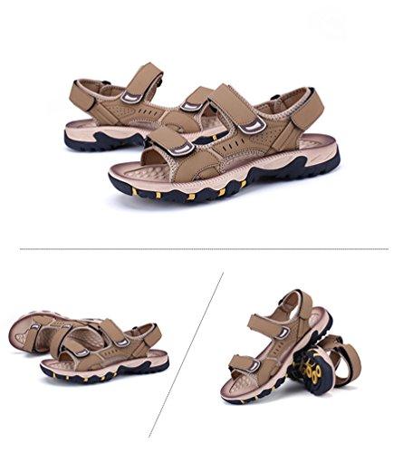 Khaki in Uomini Pelle Sandali Tirare Scarpe da su Pantofola YiLianDa Spiaggia A8vRnRq