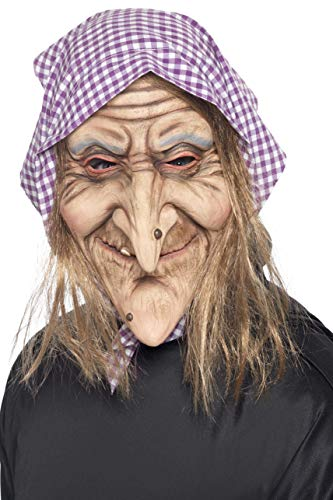 Smiffys Men's Old Witch Mask, Mask with Headscarf and Hair Attached, One Size, 37194 -