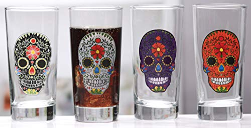 (Circleware 77083 Sugar Skull Drinking Glasses, Set of 4, Heavy Base Juice Tumbler Ice Tea Cups, Home Entertainment Glassware for Water, Beer & All Beverages, 14.5 oz, Black, White, Purple and Orange)