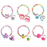 kilofly 6 Sets Princess Party Favors Girls Jewelry Rings Elastic Bracelets Pack