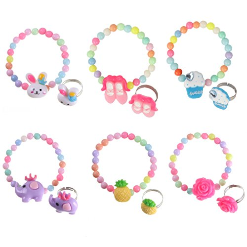 kilofly 6 Sets Princess Party Favors Girls Jewelry Rings Elastic Bracelets Pack by kilofly (Image #7)'