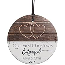 First Christmas Engaged Personalized) StarFire Prints Glass Ornament - Home and Christmas Tree Decoration