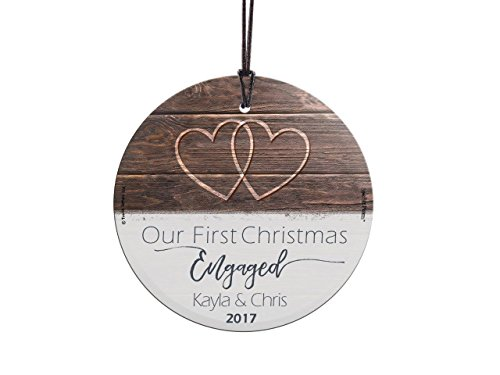 First Christmas Engaged Personalized) StarFire Prints Glass Ornament - Home and Christmas Tree Decoration (Couples Christmas For Engaged Ornaments)