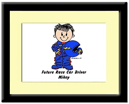Personalized Friendly Folks Future Race Car Driver - Male Print in Frame Gift, Keepsake, Room décor ()