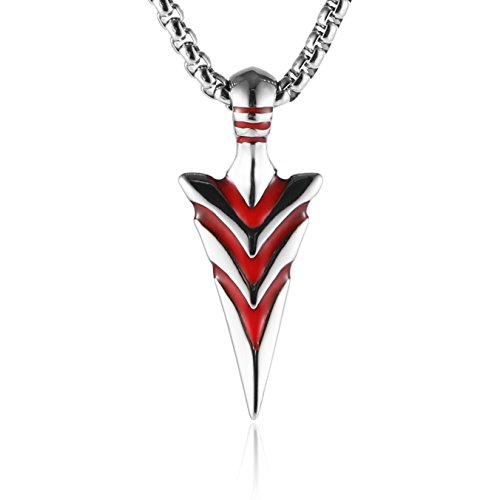 (HZMAN Mens Blood Arrowhead Arrow Stainless Steel Pendant Necklace with 24 Inches Wheat Chain (Red) )